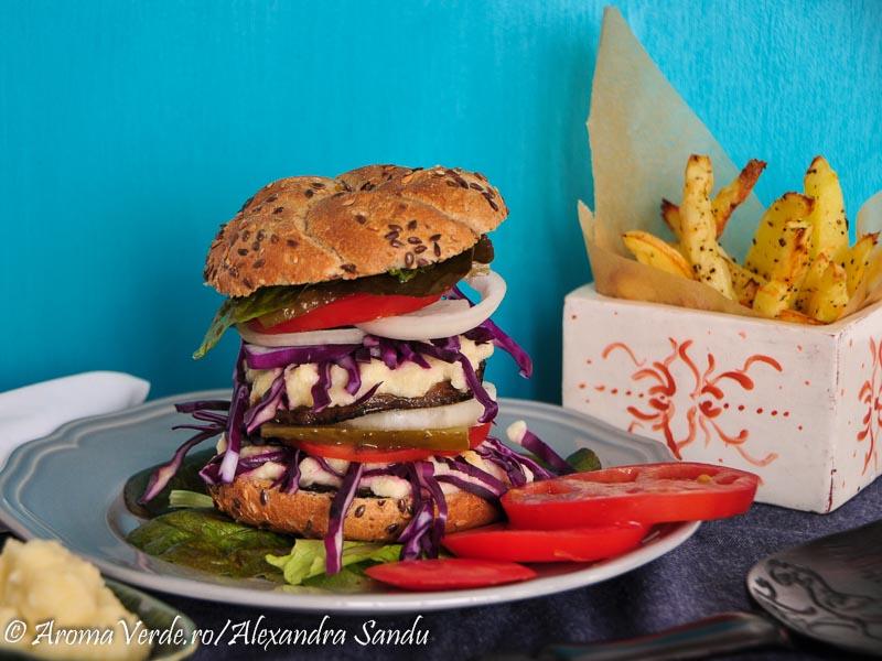 Portobello burger cu cartofi