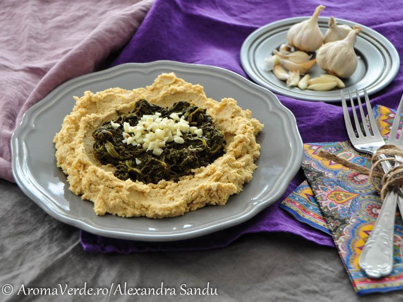 Hummus cu spanac si usturoi