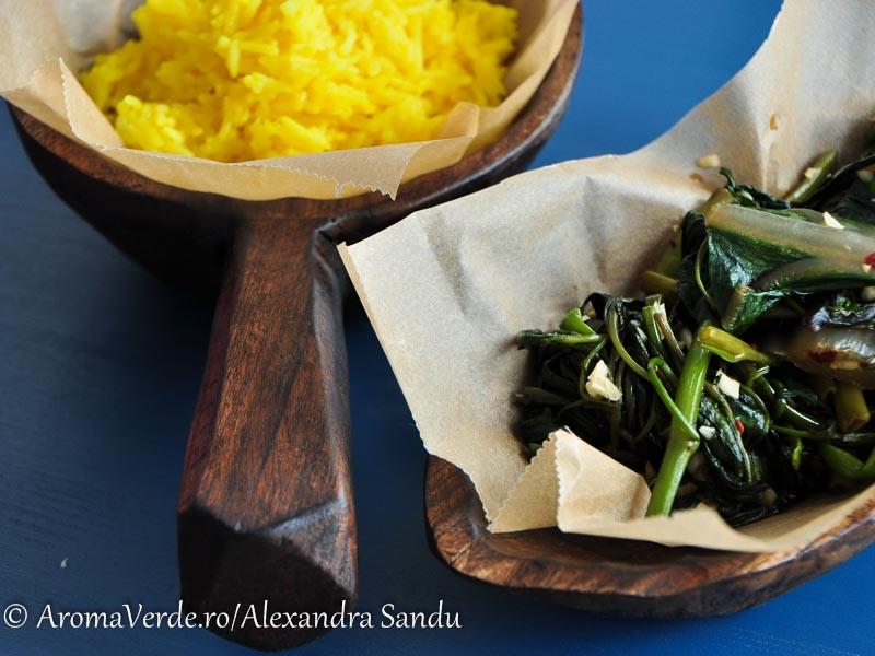 Mangold și morning glory cu orez cu turmeric