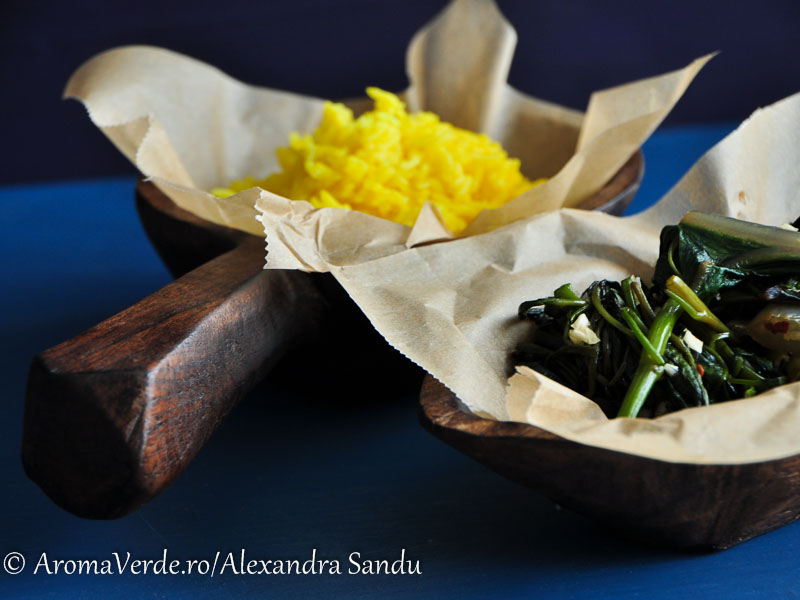 Mangold, morning glory și orez cu turmeric