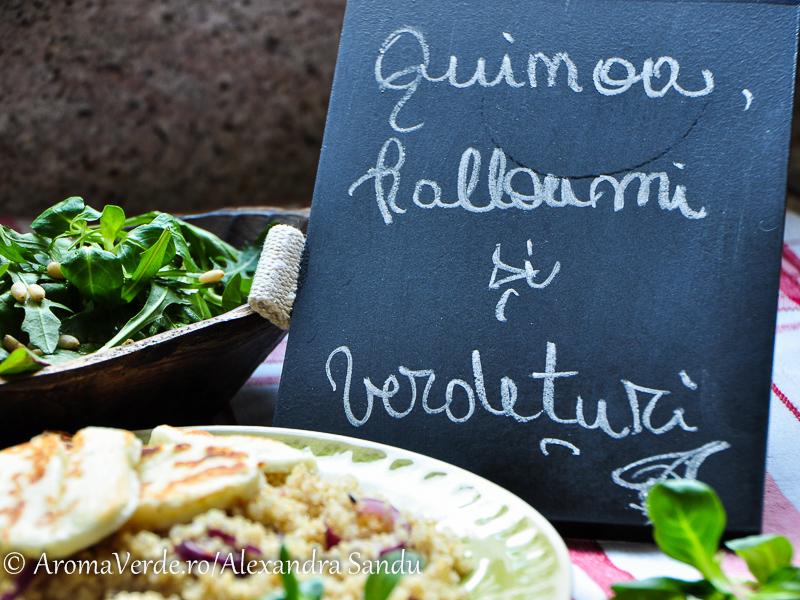 Quinoa, halloumi, verdețuri tablă