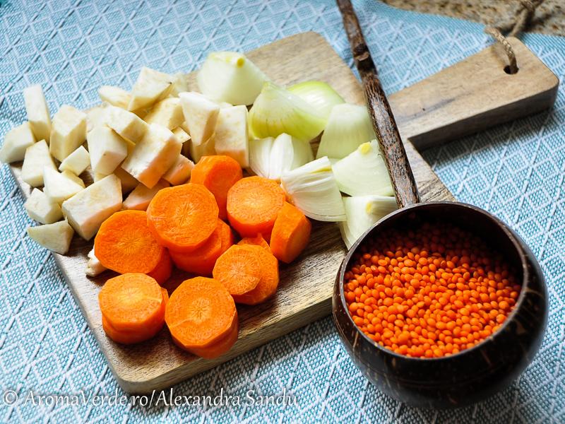 Linte roșie, ceapă, țelină, morcov