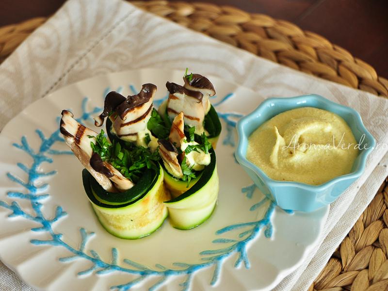 Rulouri de dovlecel cu maioneză vegană