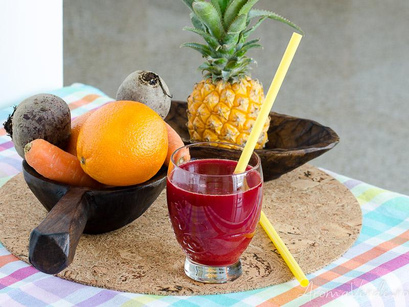 Suc din sfeclă, morcovi, ananas și portocale campanie Aleg Sanatatea