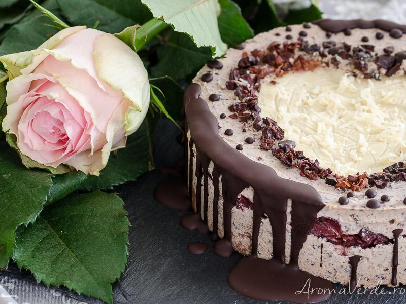 Tort raw cu straciatella și ciocolată albă