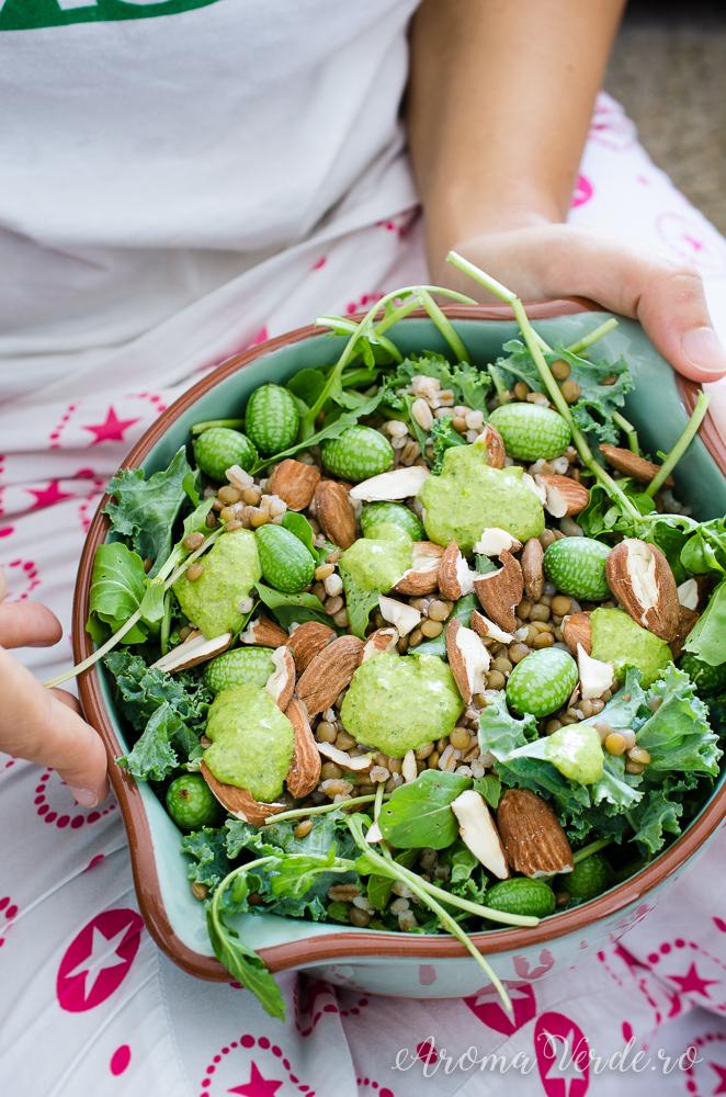 Salată proteică cu mult verde